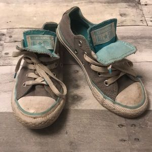Girls Gray Double Tongue Converse Cons Size 12